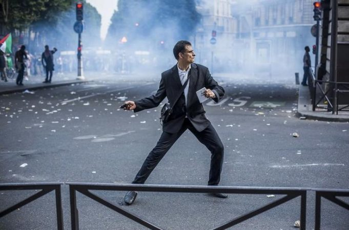 fashionable french protester