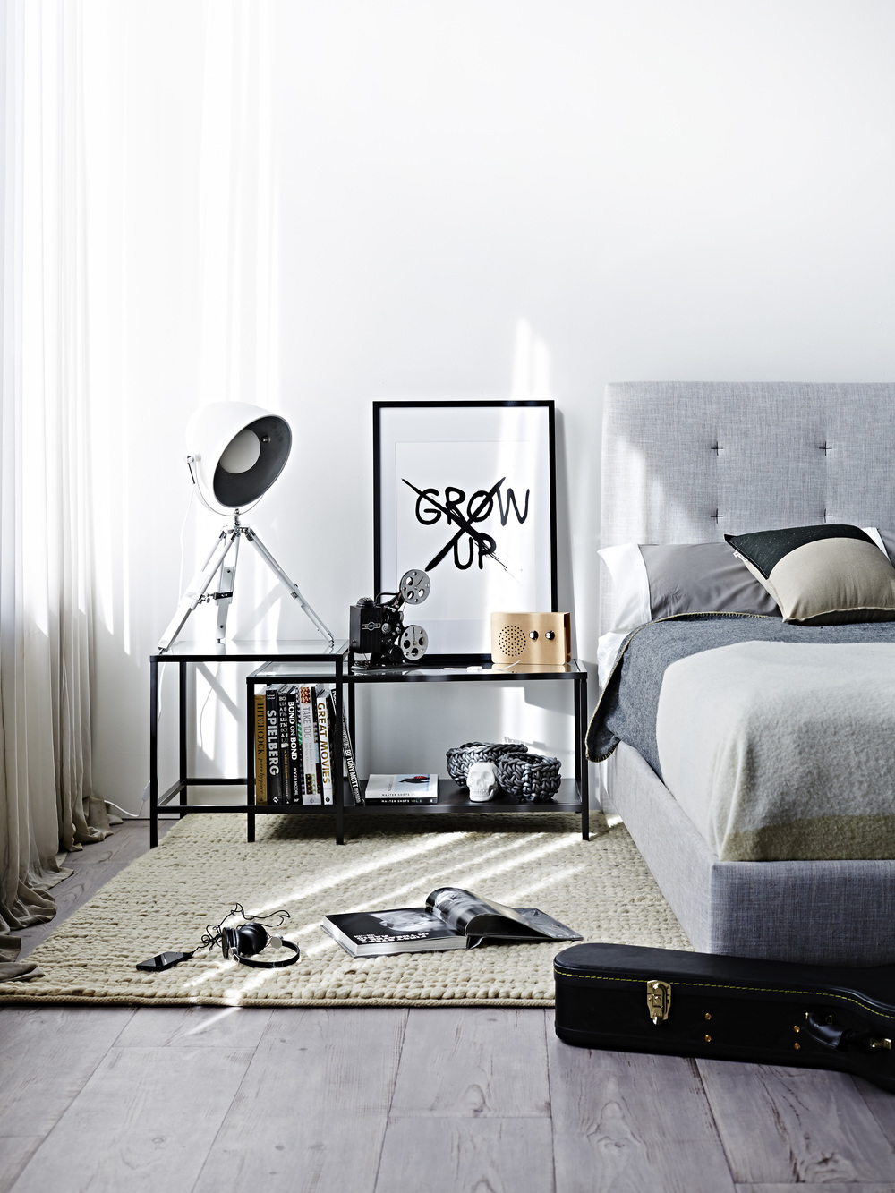 black white bedroom