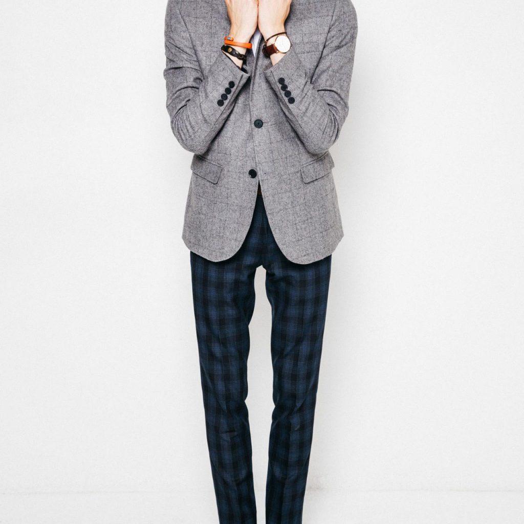 grey blazer plaid new look men