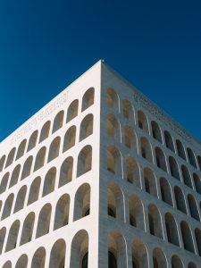 Fascist architecture Benito Mussolini eur whiite Palazzo della Civilita Italiana