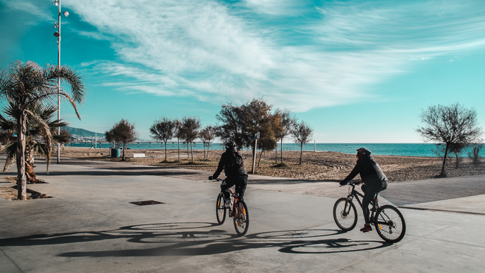 people on bikes in barcelona