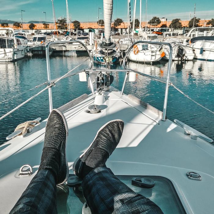 boat in barcelona marina