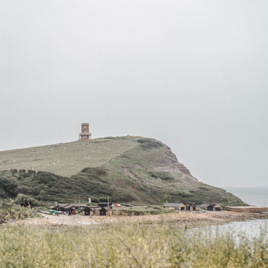 Kimmeridge with Clavell Tower and Hen Cliff across the bay