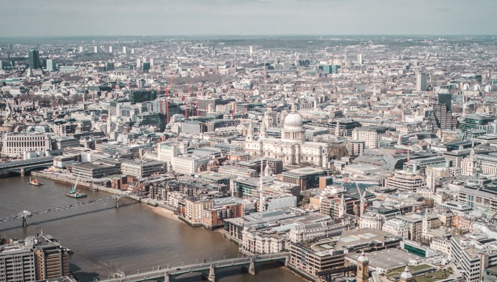 london cityscape view from the shard st pauls