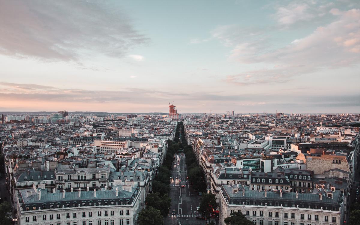 sunset over paris france