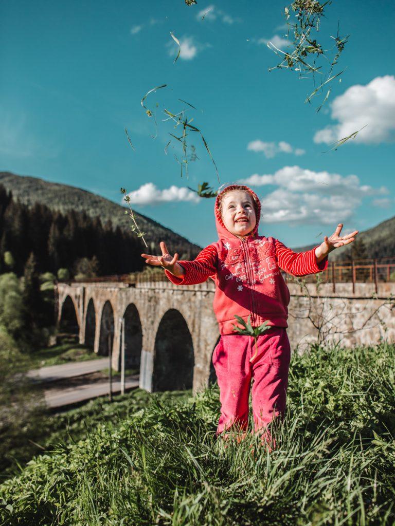 girl aquaduct carpathians