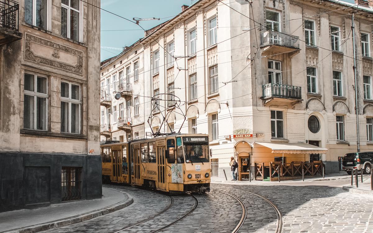 lviv tram yellow town