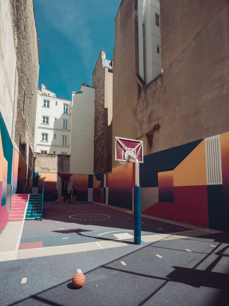 paris adidas nike colourful basketball court