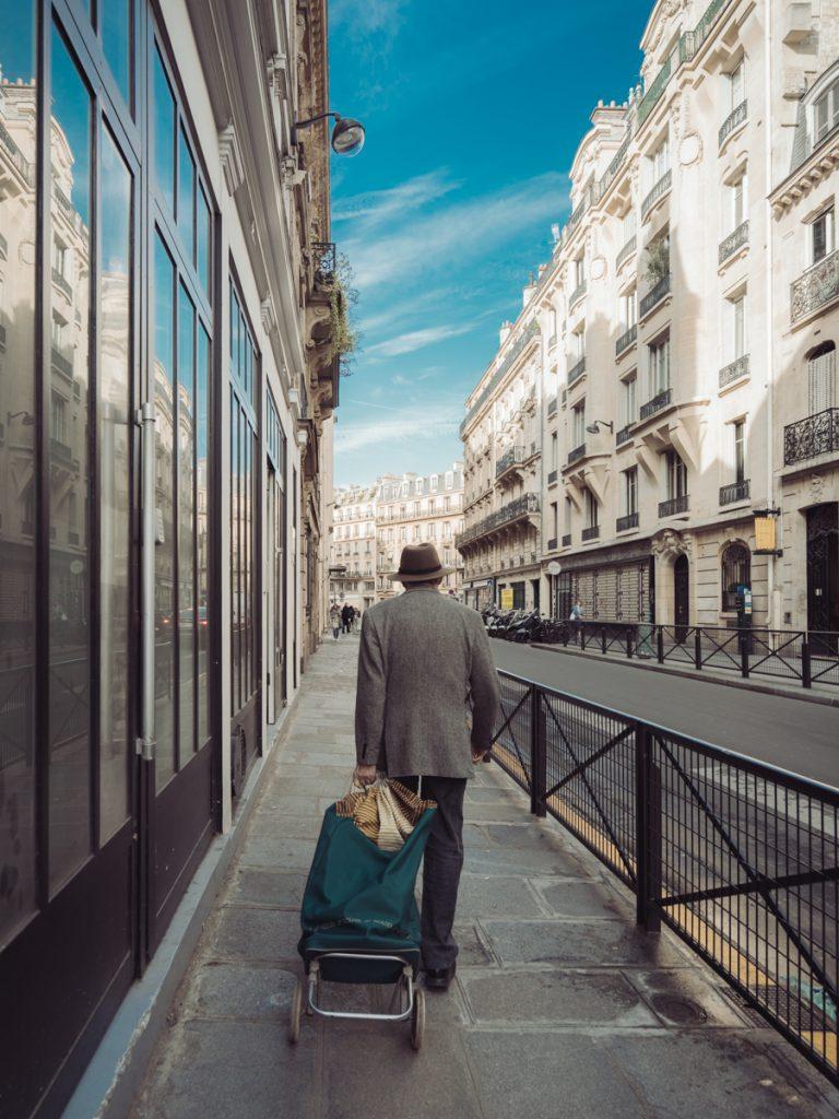 old man walking paris