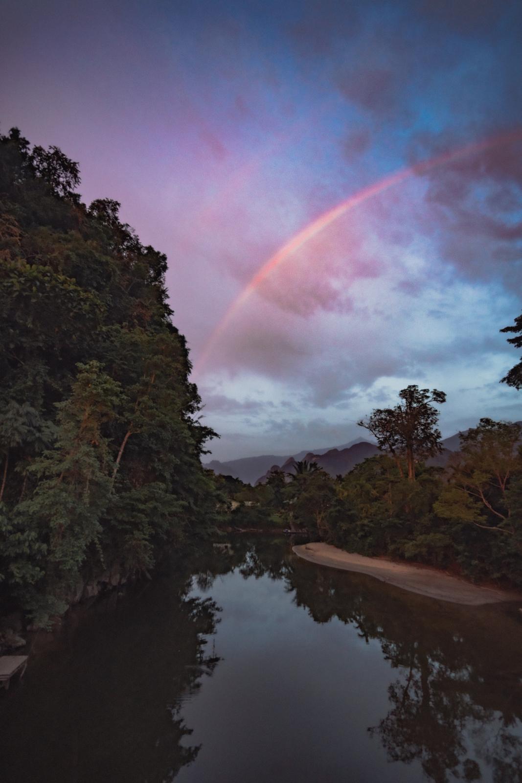 rainbow over sarawak malaysia